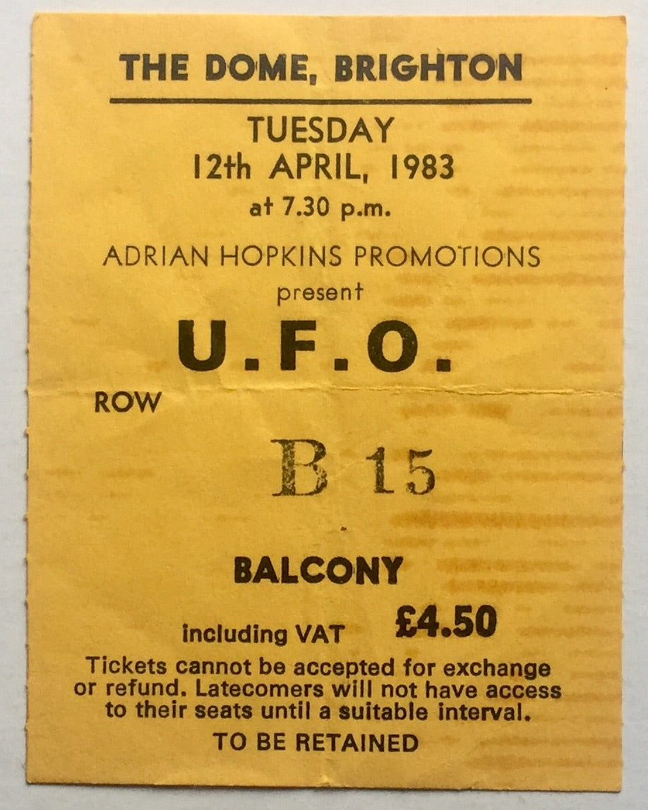 U.F.O. UFO Original Used Concert Ticket The Dome Brighton 12th Apr 1983