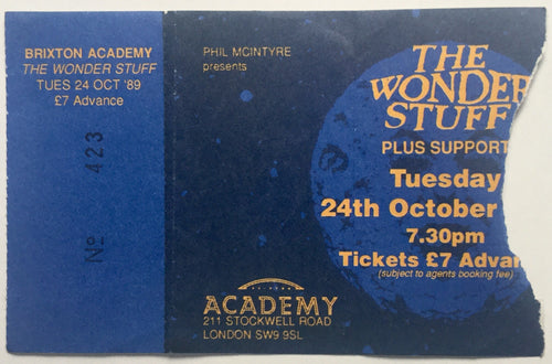 Wonder Stuff Original Used Concert Ticket Brixton Academy London 24th Oct 1989