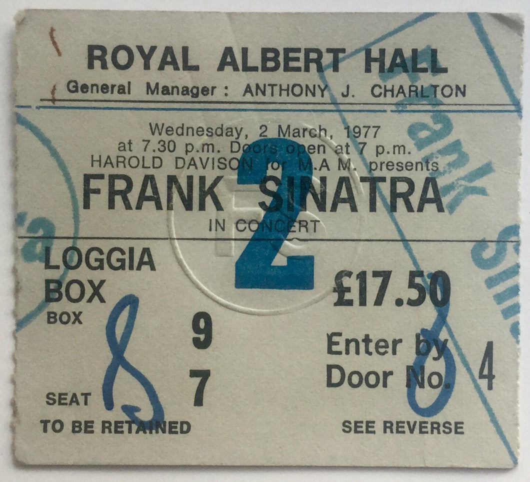 Frank Sinatra Original Used Concert Ticket Royal Albert Hall London 2nd March 1977