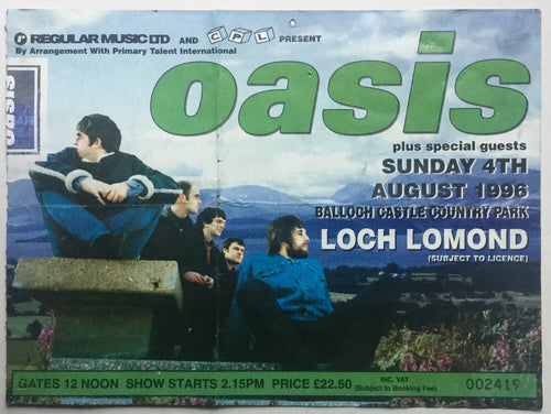 Oasis Original Used Concert Ticket Loch Lomond 4th Aug 1996