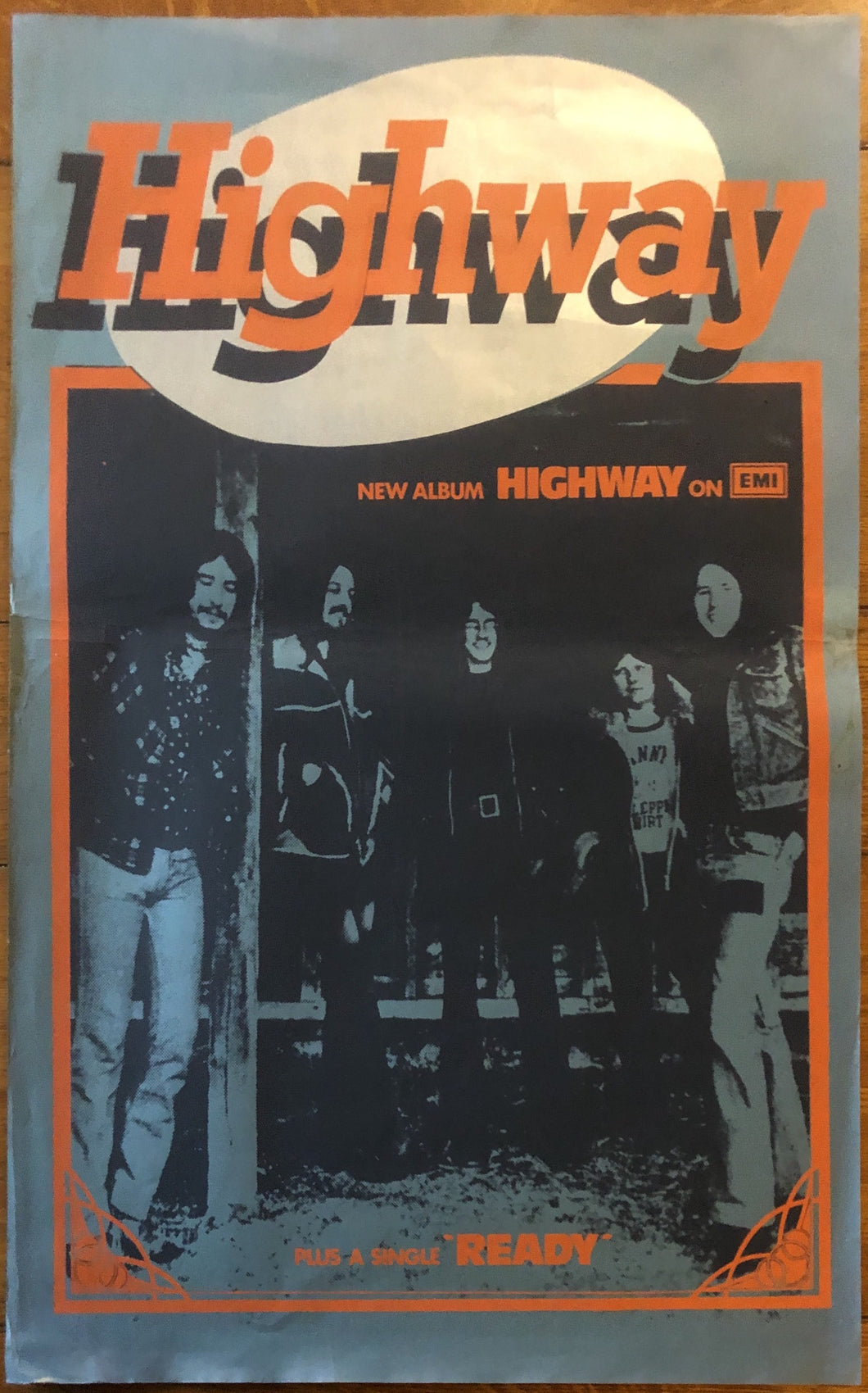 Highway Debut Album and Ready Original Promo Poster EMI Records 1974