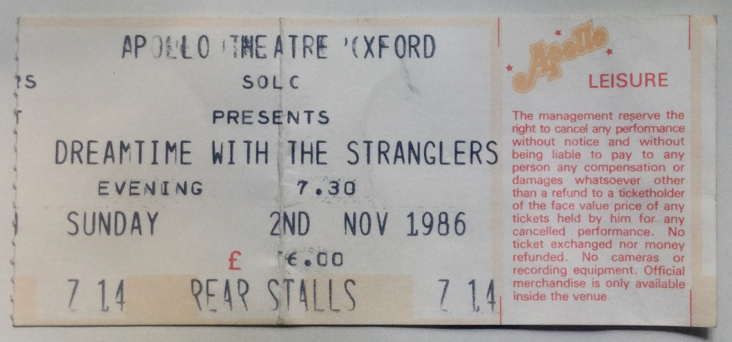 Stranglers Original Used Concert Ticket Apollo Theatre Oxford 2nd Nov 1986