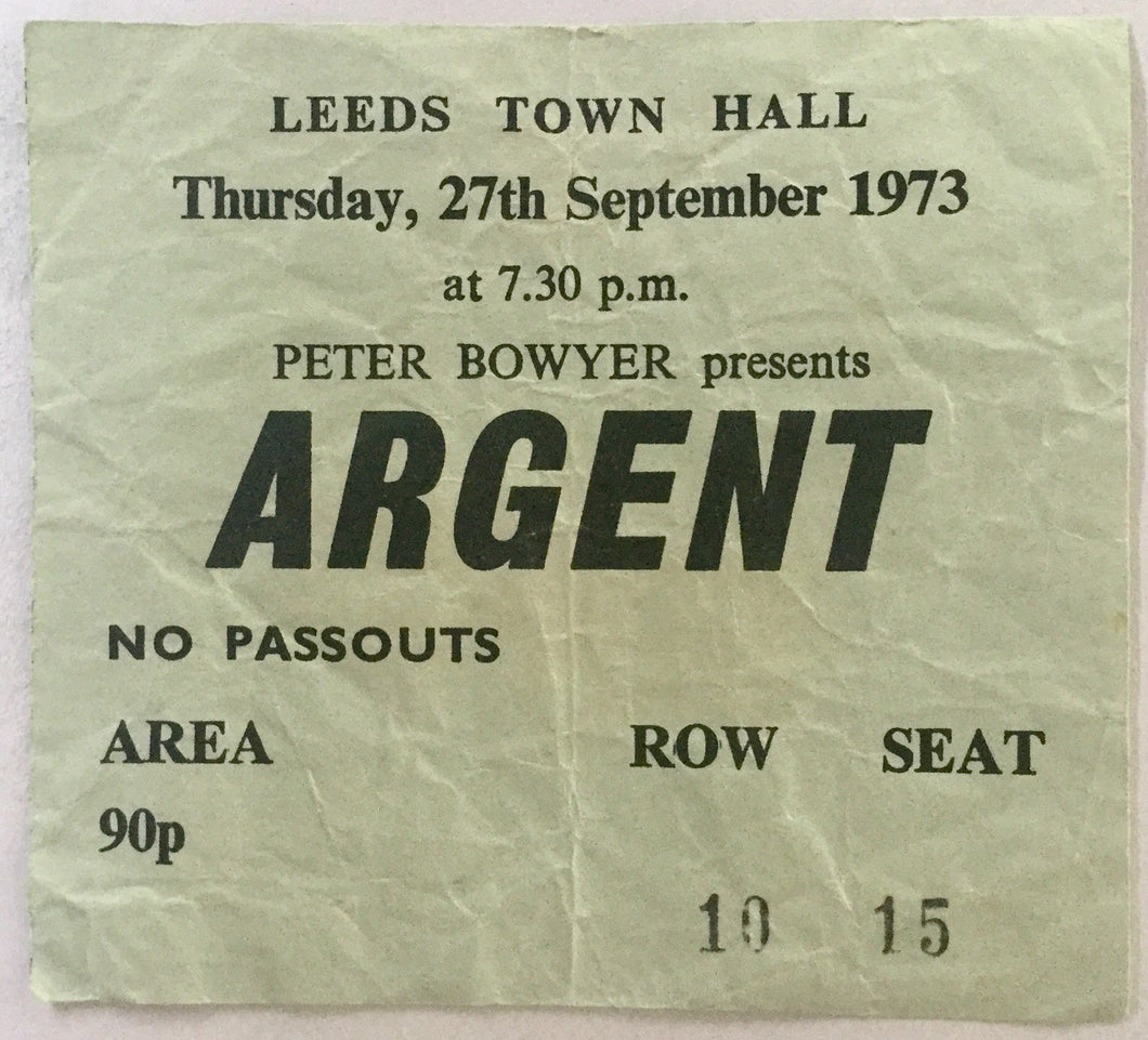 Argent Original Used Concert Ticket Leeds Town Hall 27th Sept 1973