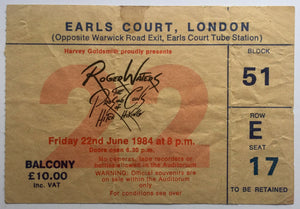 Roger Waters Eric Clapton Original Used Concert Ticket Earls Court London 22nd June 1984