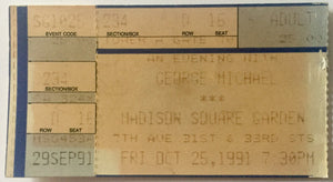 George Michael Original Used Concert Ticket Madison Square Garden New York 25th Oct 1991