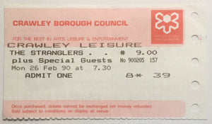 Stranglers Original Used Concert Ticket Crawley Leisure Centre 26th Feb 1990
