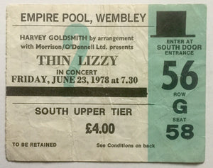 Thin Lizzy Original Used Concert Ticket Empire Pool Wembley London 23rd Jun 1978