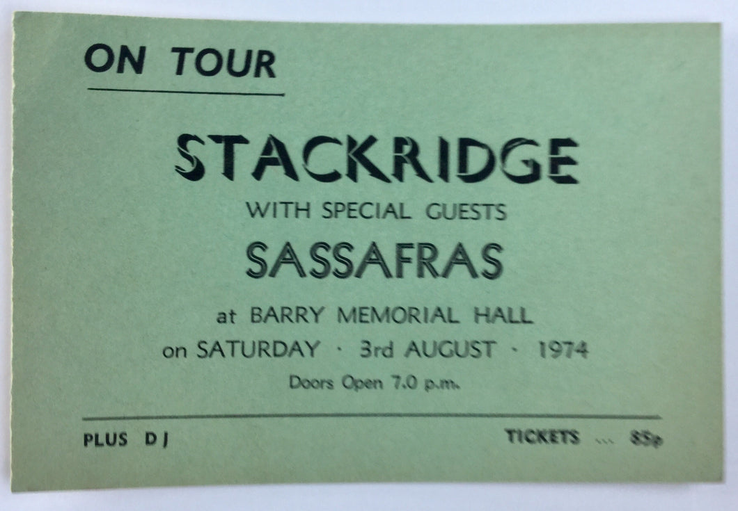 Stackridge Sassafras Original Used Concert Ticket Barry Memorial Hall 3rd Aug 1974