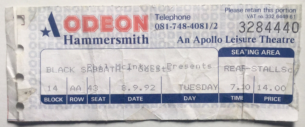 Black Sabbath Original Used Concert Ticket Hammersmith Odeon London 8th Sept 1992