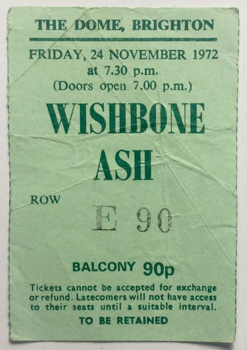 Wishbone Ash Original Used Concert Ticket The Dome Brighton 24th Nov 1972