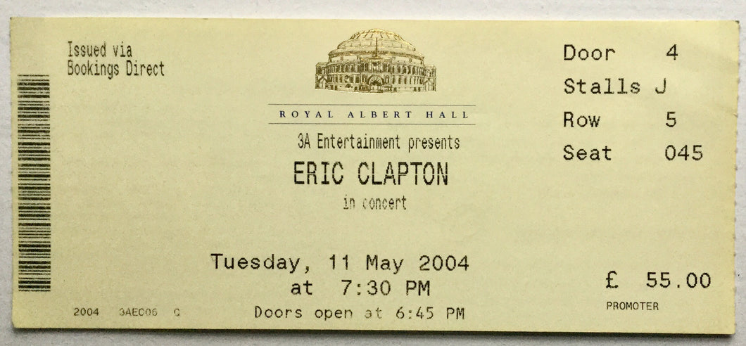 Eric Clapton Original Used Concert Ticket Royal Albert Hall 11th May 2004