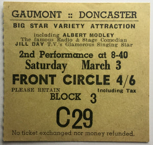 Albert Motley Gill Day Original Used Concert Ticket Gaumont Doncaster 1956