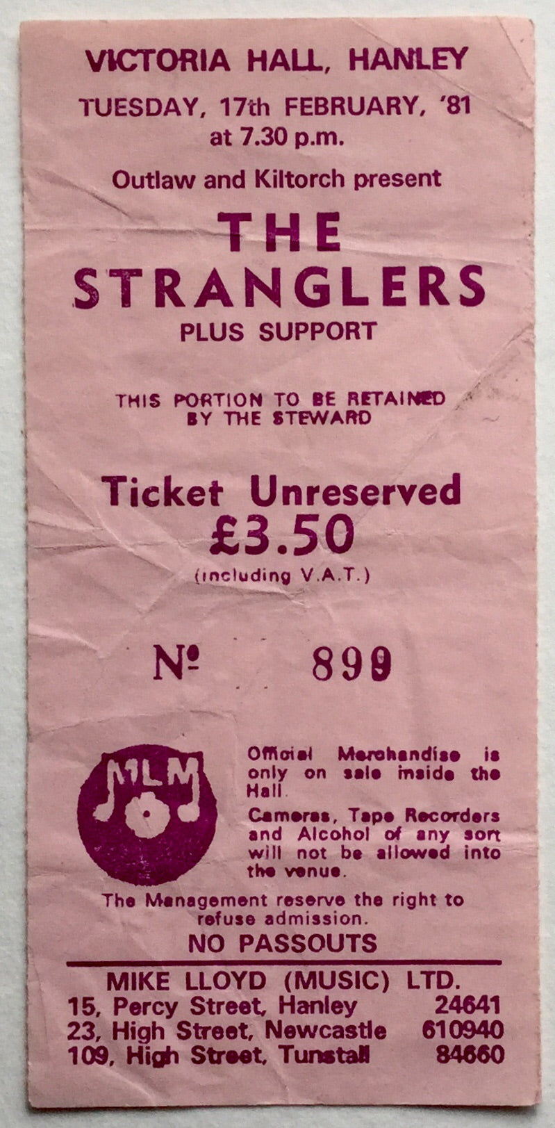 Stranglers Original Used Concert Ticket Victoria Hall Hanley 17th Feb 1981
