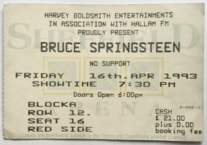Bruce Springsteen Original Used Concert Ticket Sheffield Arena 16th April 1993