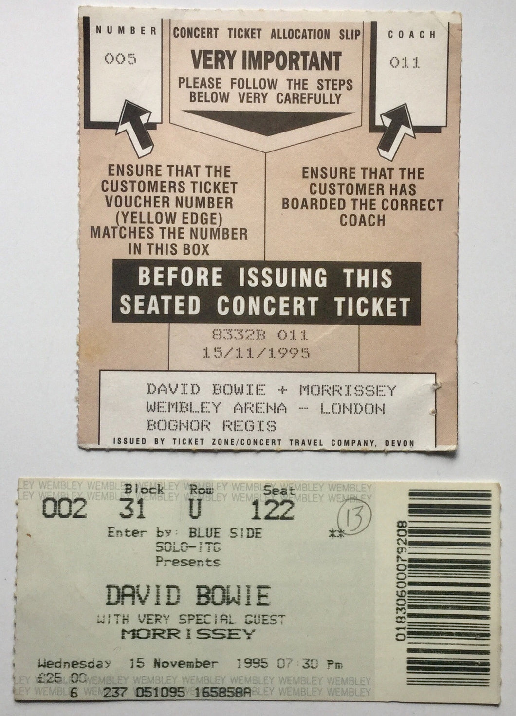 David Bowie Morrissey Original Used Concert & Coach Ticket Wembley Arena London 15th Nov 1995