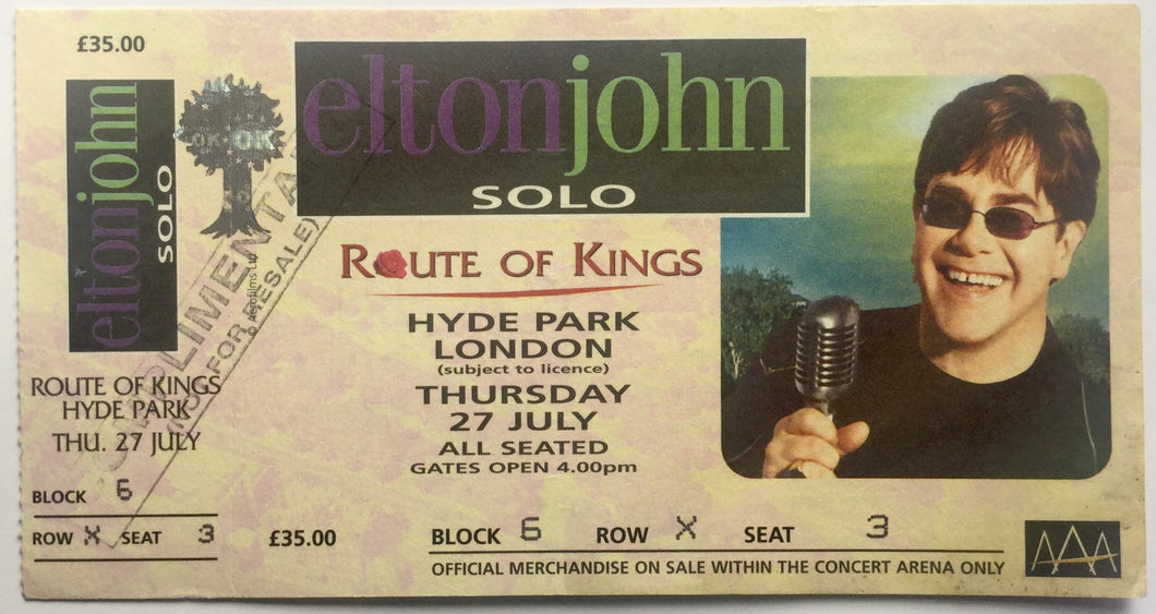 Elton John Original Complete Concert Ticket Hyde Park London 27th July 2000