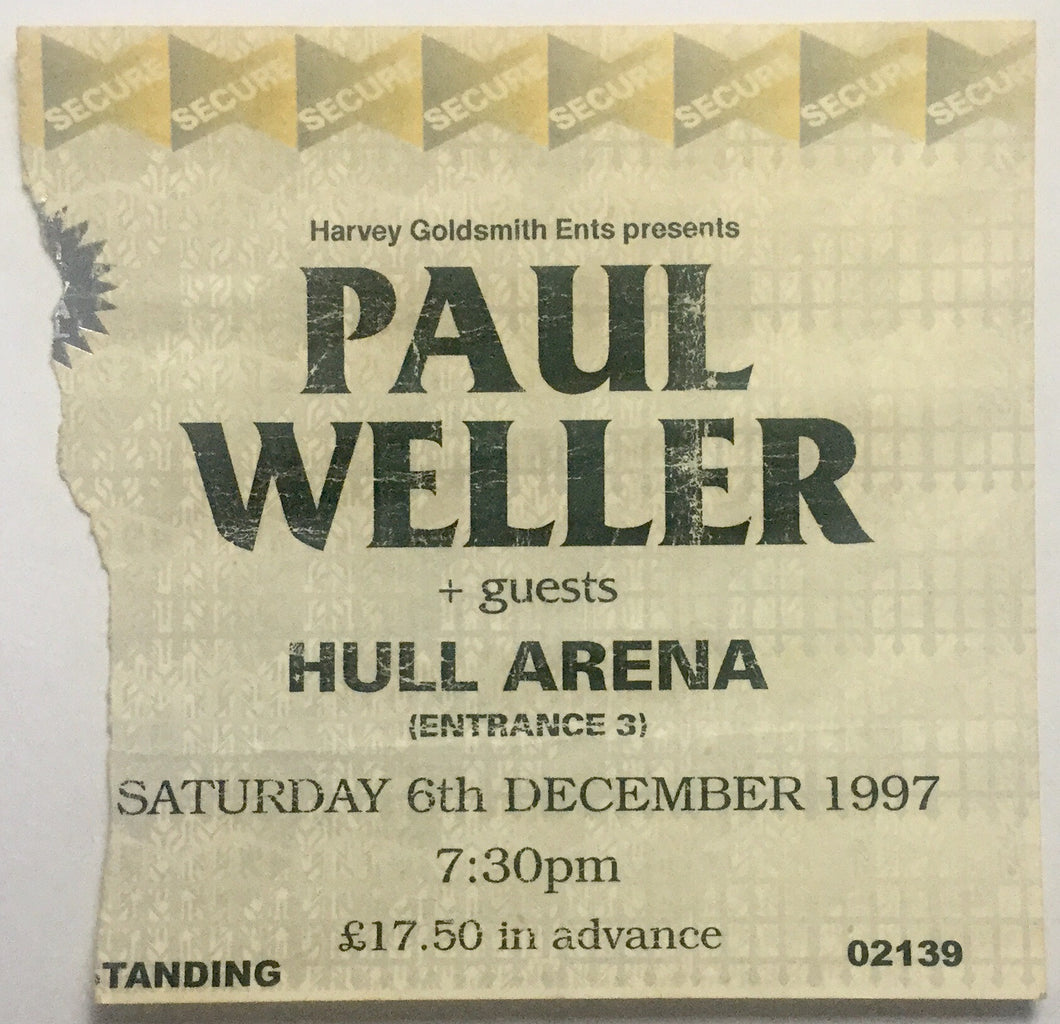 Paul Weller Original Concert Ticket Hull Arena 6th Dec 1997