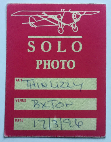 Thin Lizzy Original Unused Concert Backstage Pass Ticket Brixton Academy London 17th Mar 1996