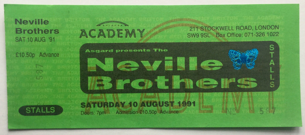 Neville Brothers Original Unused Concert Ticket Brixton Academy London 10th August 1991