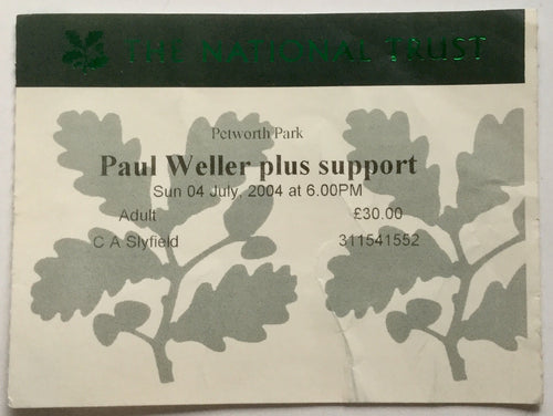 Paul Weller Original Concert Ticket Petworth Park 4th July 2004