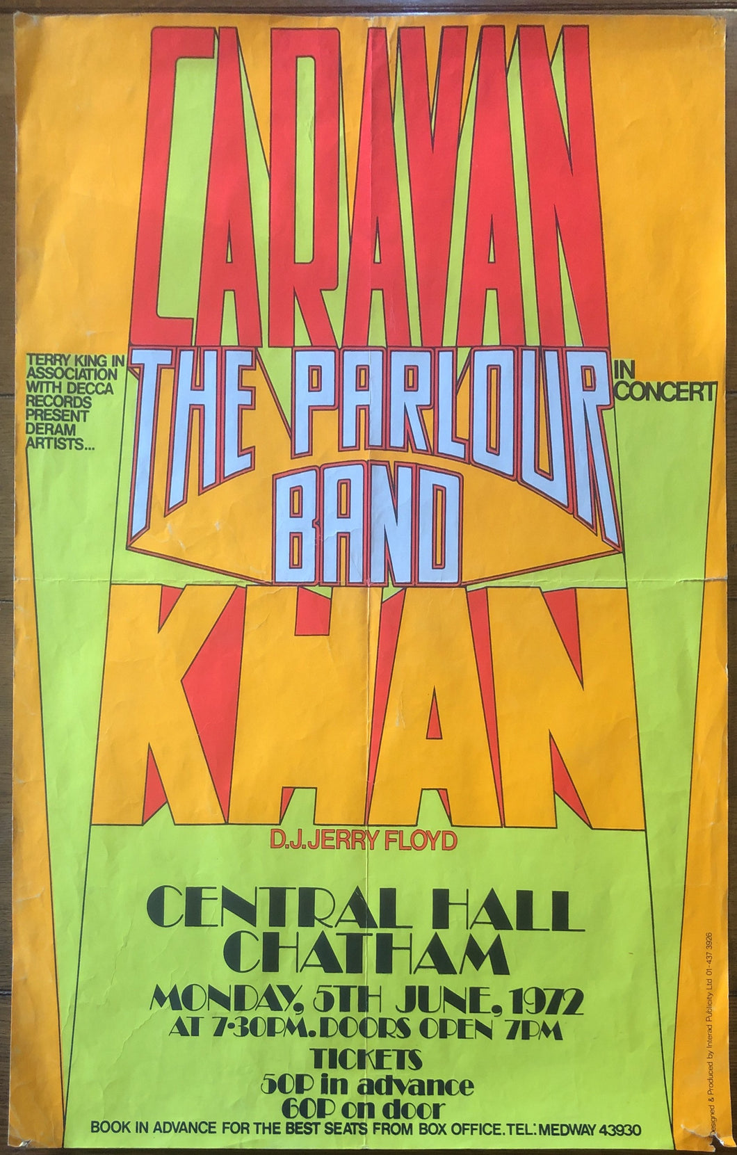 Caravan Khan Original Concert Tour Gig Poster Central Hall Chatham 5th June 1972
