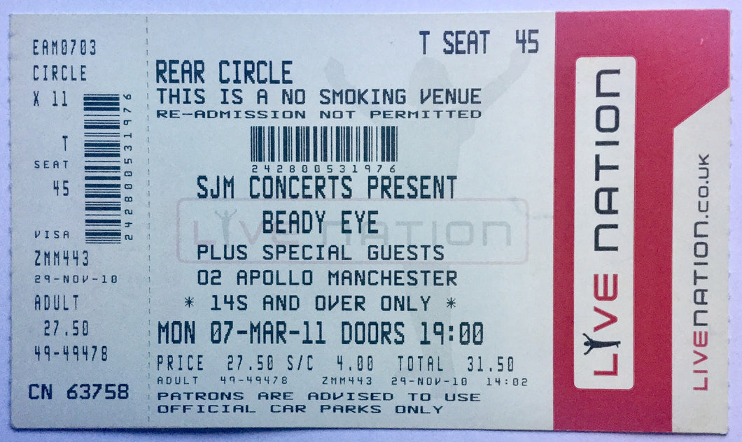 Oasis Beady Eye Original Unused Concet Ticket O2 Apollo Manchester 7th Mar 2011