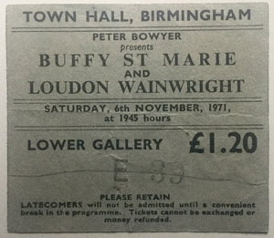 Buffy St Marie London Wainwright III Original Used Concert Ticket Town Hall Birmingham 6th Nov 1971