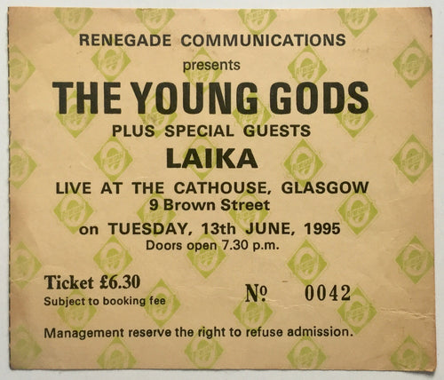 Young Gods Original Used Concert Ticket Cathouse Glasgow 13th June 1995