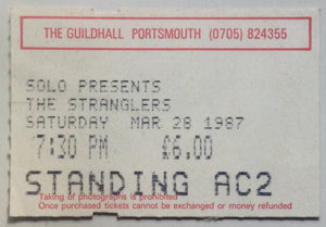 Stranglers Original Used Concert Ticket Guildhall Portsmouth 28th Mar 1987
