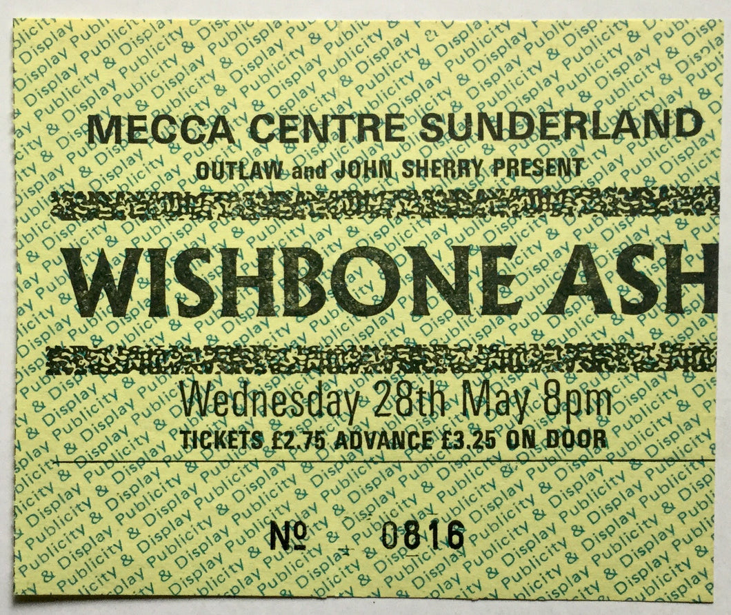 Wishbone Ash Original Used Concert Ticket Mecca Centre Sunderland 28th May 1980