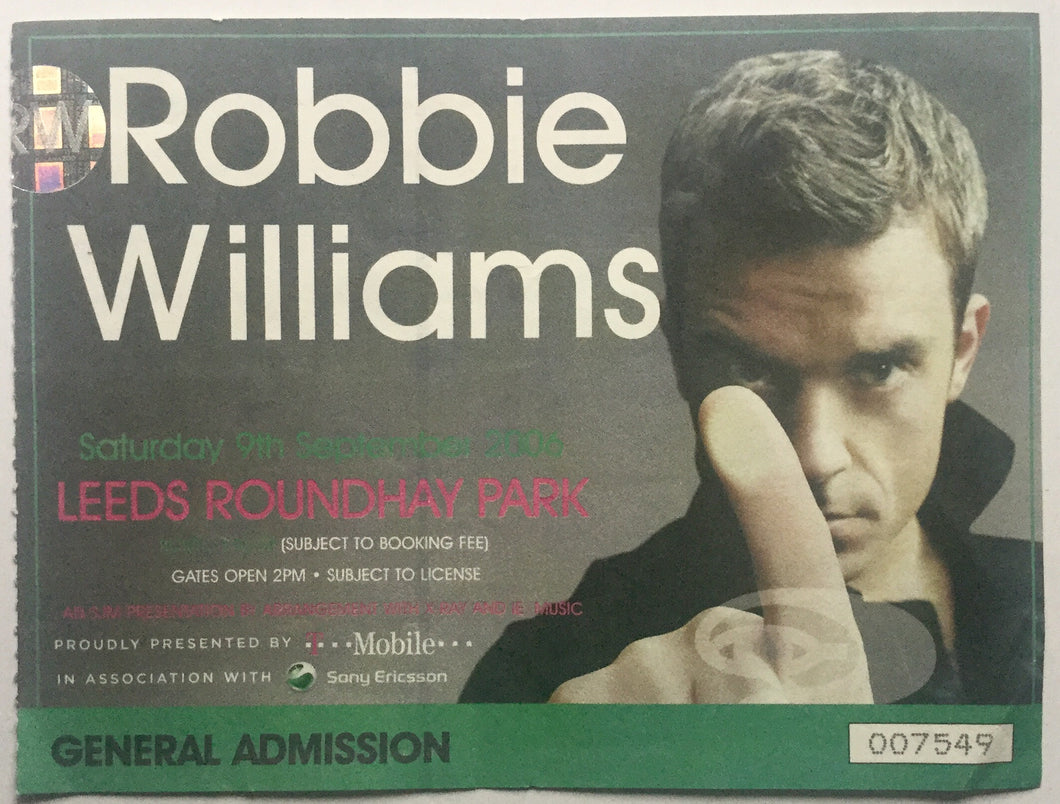 Robbie Williams Original Used Concert Ticket Roundhay Park Leeds 9th Sept 2006