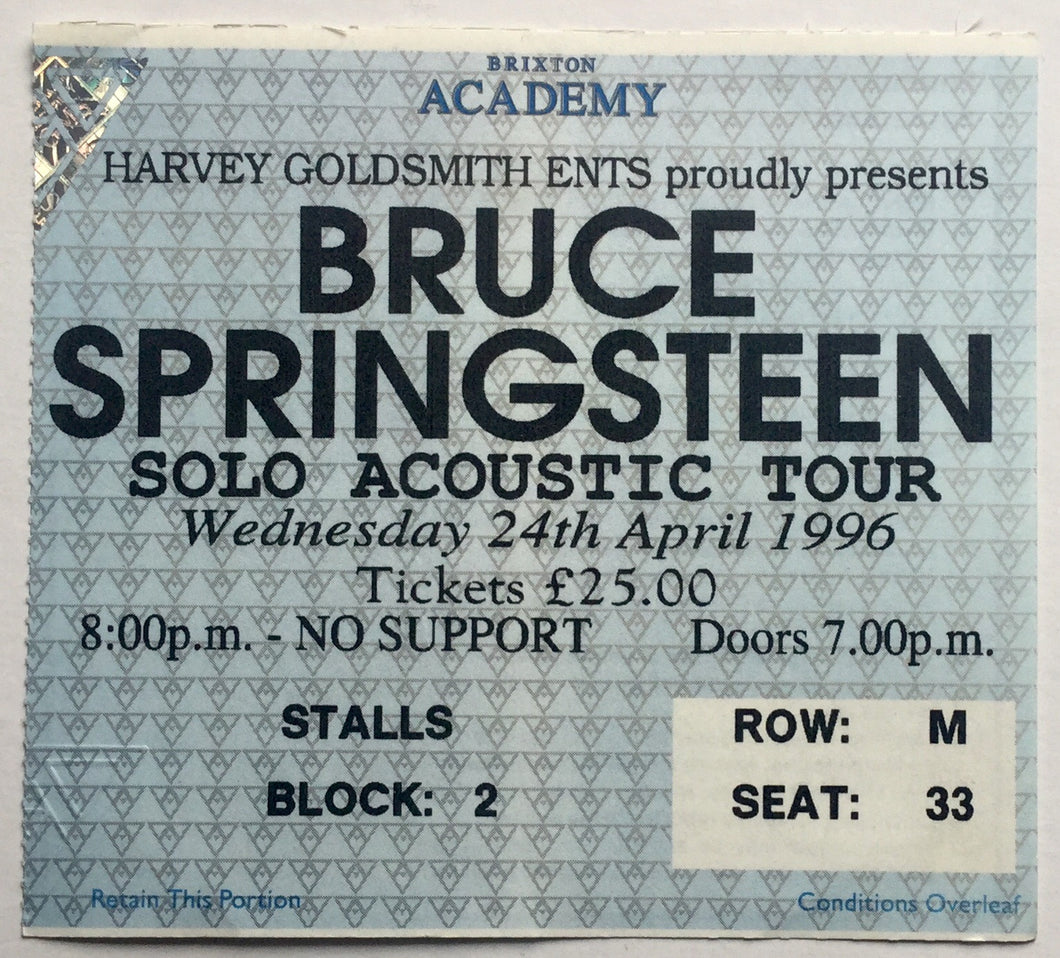 Bruce Springsteen Original Used Concert Ticket Brixton Academy London 24th Apr 1996