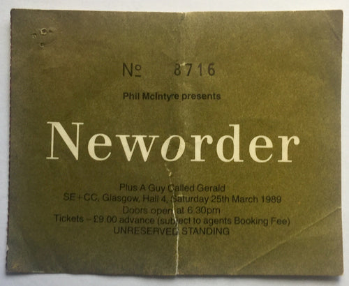New Order Original Used Concert Ticket SECC Glasgow 25th Mar 1989