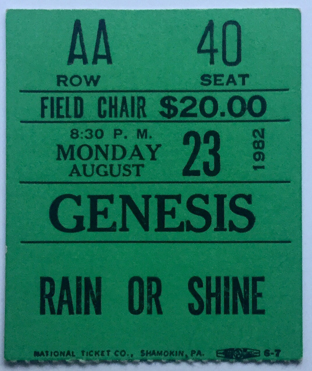 Genesis Original Used Concert Ticket Forest Hills New York 23rd August 1982