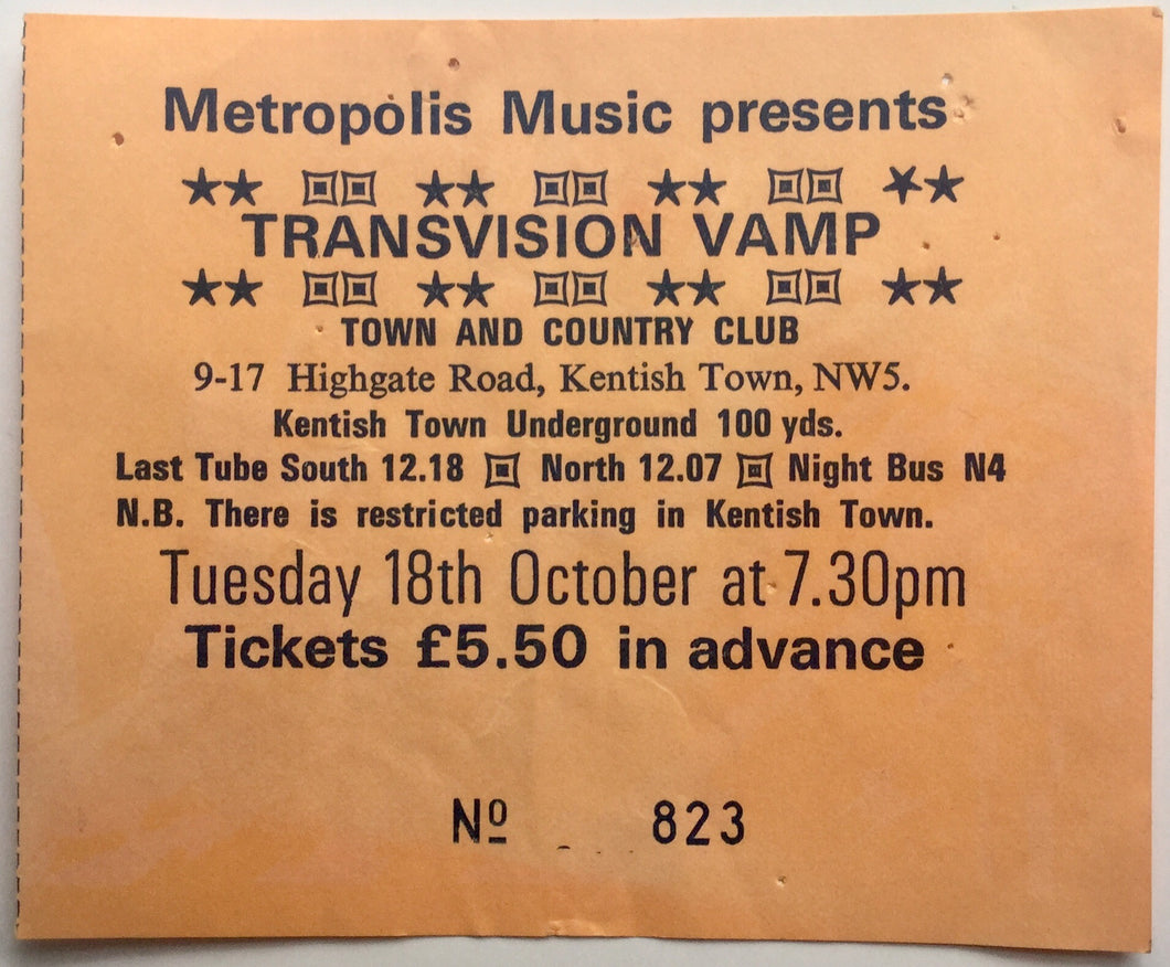 Transvision Vamp Original Used Concert Ticket Town & County Club London 18th Oct 1988