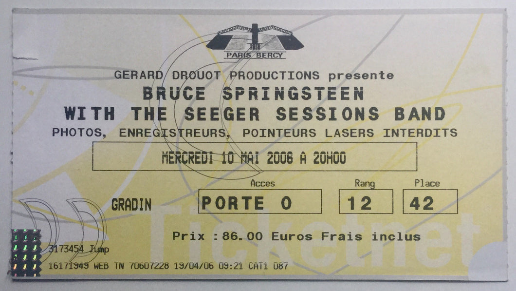 Bruce Springsteen Original Used Concert Ticket Paris Bercy 10th May 2006