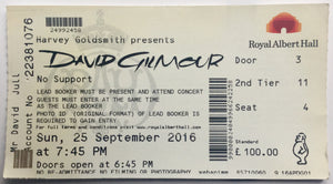 Pink Floyd David Gilmour Original Used Concert Ticket Royal Albert Hall London 25th Sept 2016