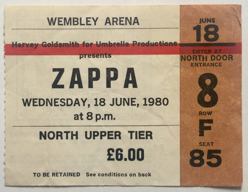Frank Zappa Original Used Concert Ticket Wembley Arena London 18th June 1980