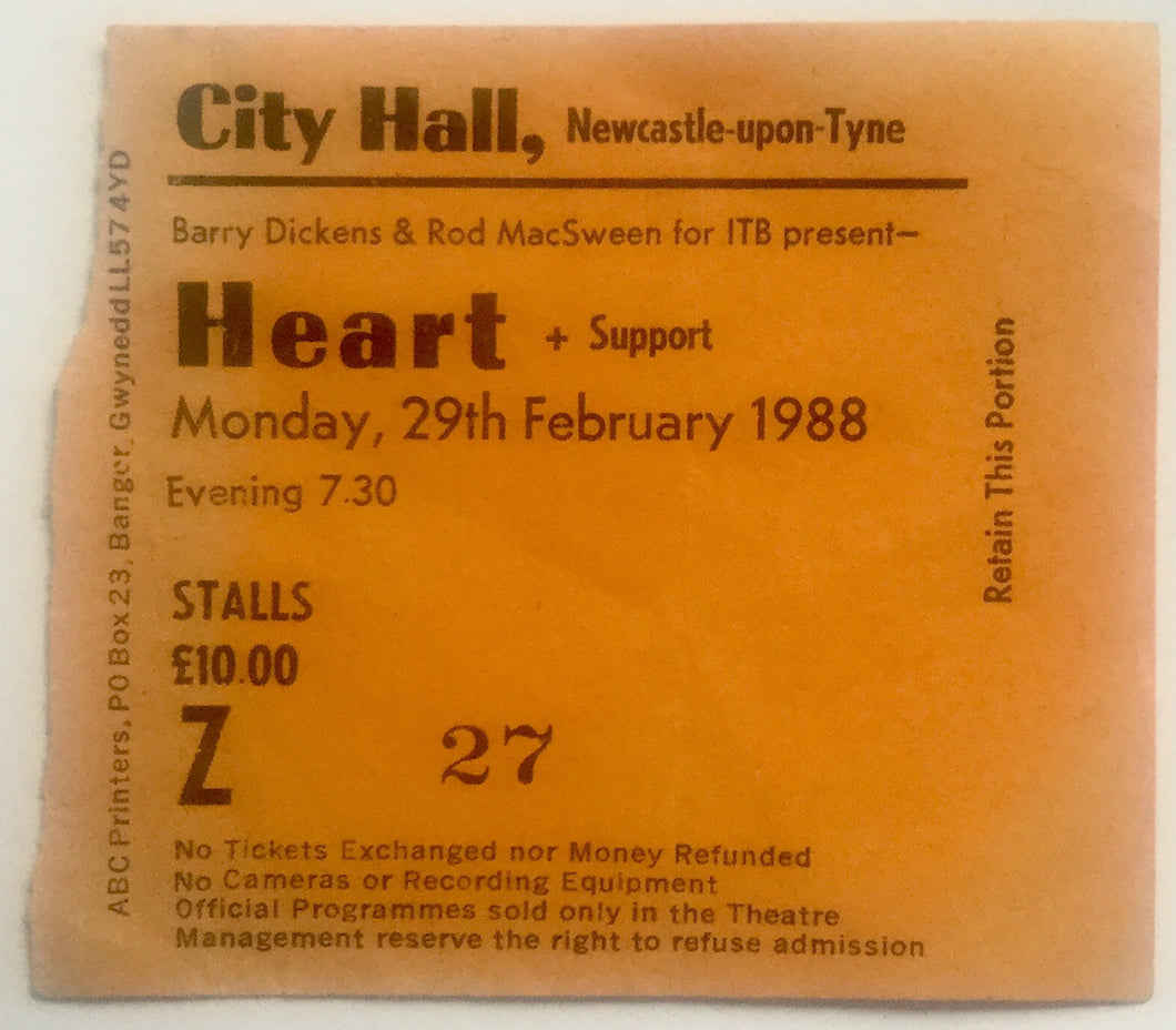 Heart Original Used Concert Ticket City Hall Newcastle 29th Feb 1988