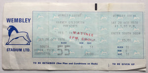 Yes Original Unused Concert Ticket Wembley Arena London 28th Oct 1978