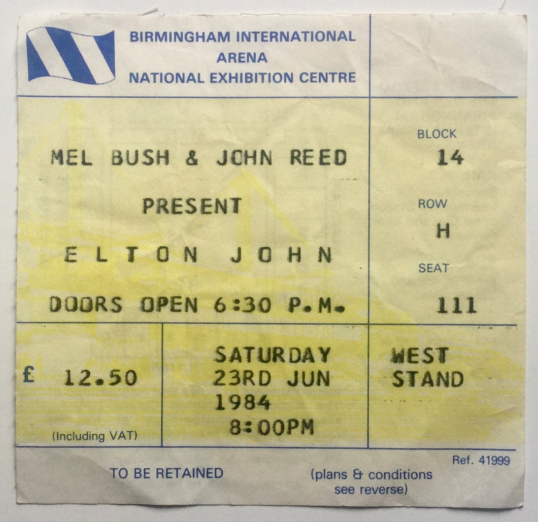Elton John Original Used Concert Ticket NEC Birmingham 23rd Jun 1984