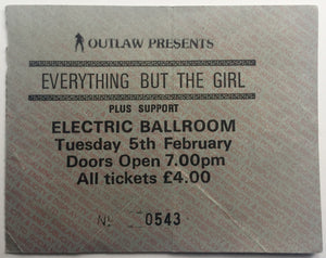 Everthing But The Girl Original Used Concert Ticket Electric Ballroom London 5th Feb 1985