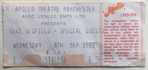 Mike Oldfield Original Used Concert Ticket Apollo Theatre Manchester 8th Sept 1982