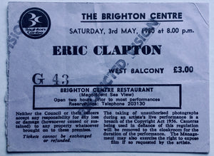 Eric Clapton Original Used Concert Ticket Brighton Centre 3rd May 1980