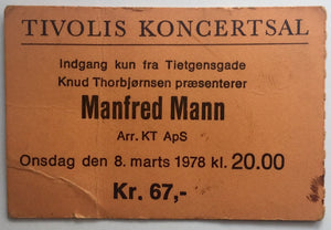 Manfred Mann Original Used Concert Ticket Tivolis Koncertsal Copenhagen 8th Mar 1978