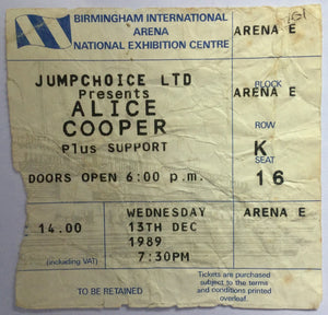 Alice Cooper Original Used Concert Ticket NEC Birmingham 13th Dec 1989