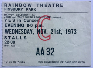 Yes Original Used Concert Ticket Rainbow Theatre London 21st Nov 1973