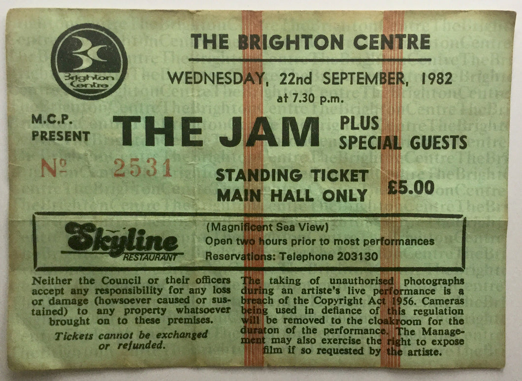 Jam Original Used Concert Ticket The Brighton Centre 22nd Sept 1982