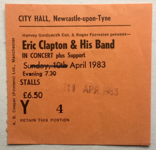 Eric Clapton Original Used Concert Ticket City Hall Newcastle 11th Apr 1983