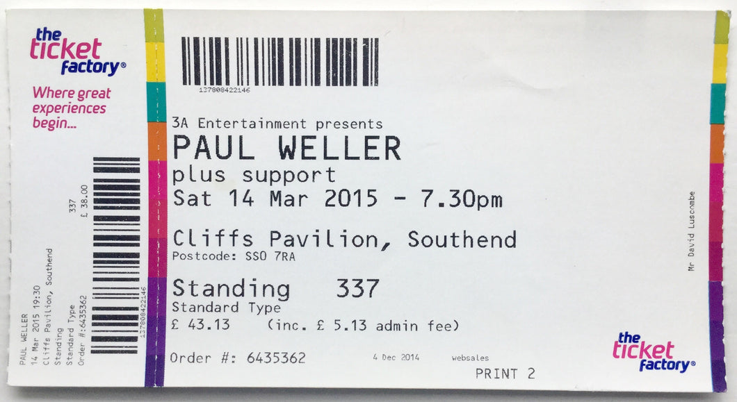 Paul Weller Original Complete Concert Ticket Cliffs Pavilion Southend 14th Mar 2015